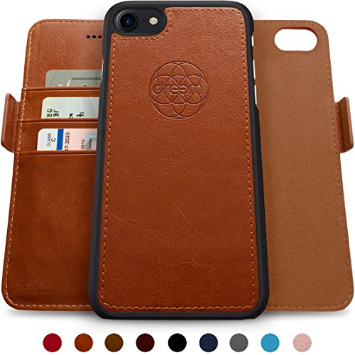 dreem Fibonacci Brieftasche & Schutz-Hülle für iPhone 7/8, magnetisch herausnehmbares TPU Case, dünn bruchfest, 2 Standfunktionen, hochwertige synthetische Leder-Tasche, RFID Schutz - Karamell