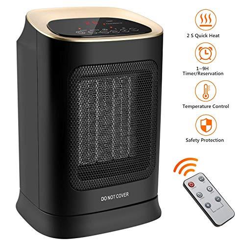 Lecc 1800W / 900W Ceramic Space Heater Personal Heater mit Fernbedienung, Touch-Taste, Überhitzungs- und Neigungsschutz für Büro und Zuhause (Frei Stehende Box)