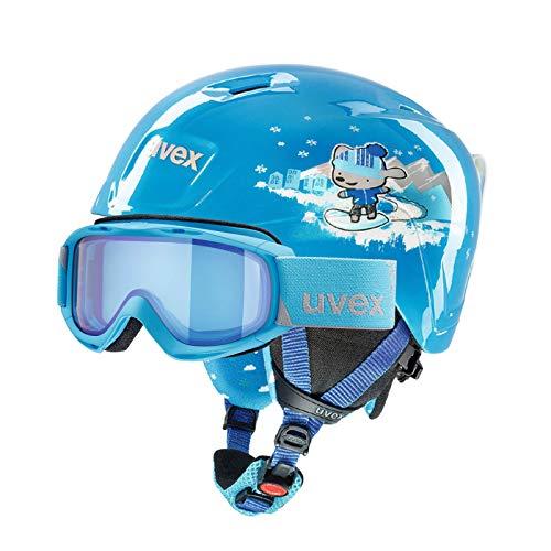 Abenteuertauchen Uvex Kinderskihelm Manic + Skibrille Slider FM im Set, Farbe:blau, Größe:51-55 cm
