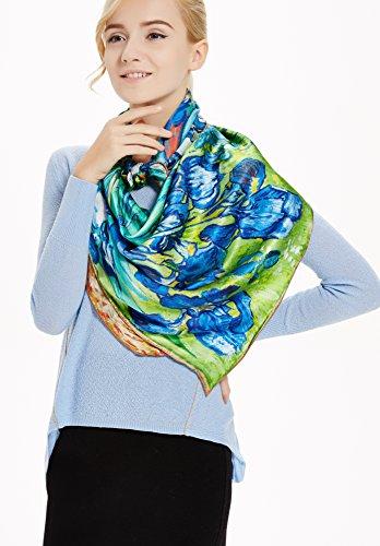 Prettystern - 110 cm carré surdimensionné écharpe de soie handrolled - van Gogh - 5 sélection de motif P022 - Schwertlilien / Iris