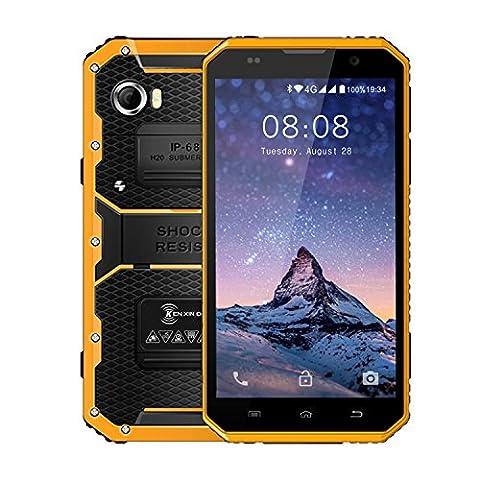 Rugged Phone, Kenxinda W9 Android 6.0 IP68 Wasserdicht Staubdicht Shockproof Unlocked Handy mit 4000 mAh Big Akku, 6.0