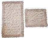 Dora - Juego de 2 Alfombrillas de baño rectangulares (60 x 100 cm y 50 x 60 cm), diseño de Piedra, Beige, 100 x 60 cm