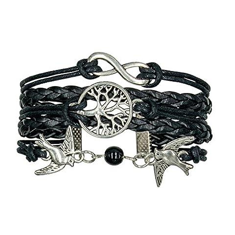 Taurus Accessories 5 Stränge Antik Silber plattiert Unendlichkeit, Vogel des Friedens und der Baum der Wünsche geflochtenen Leder schwarz, perfekte personalisierte (Personalisierte Leder Geschenke Für Ihn)