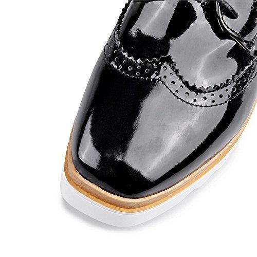 VogueZone009 Femme Couleur Unie Pu Cuir à Talon Correct Carré Lacet Chaussures Légeres Noir