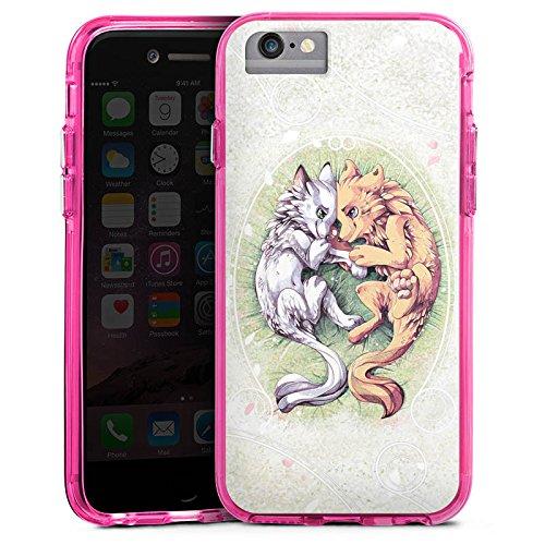Apple iPhone 7 Bumper Hülle Bumper Case Glitzer Hülle Chien Dog Hund Bumper Case transparent pink