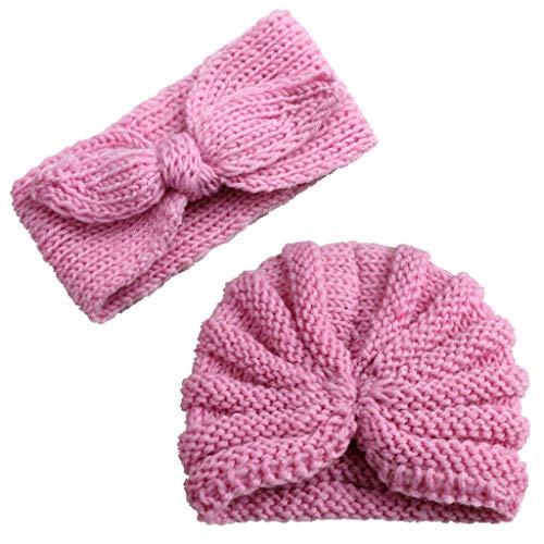 Mitlfuny Unisex Baby Kinder Jungen Zubehör Säuglingspflege,Neugeborenes Baby Mädchen gestrickt Turban Hut Haarband Beanie Headwear Cap ()