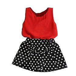 Bluester Girls Vest Pleated Dress Two Pieces Set Clothes Children Skirt Dress Suit Set 1-6Y