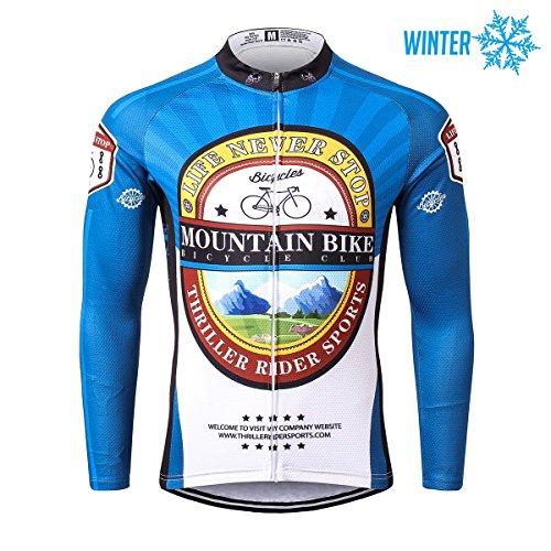 Thriller Rider Sports® Herren Mountain Bike Club Sport & Freizeit MTB Fahrradbekleidung Radtrikot Langarm Thermisch Warm Jacke X-Large