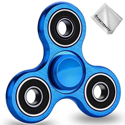 First2savvv blu idget Spinner Fidget Mano Dito Spinner Spin Widget Focus Giocattolo Antistress Alta Velocità Superb Alluminio Cuscinetto Fidget Toy Tasca Desktoy - Rotazione da 3-5 minuto - Perfetto per Ansia bambini per adulti + pezza per pulire TL-LSLS-03G11