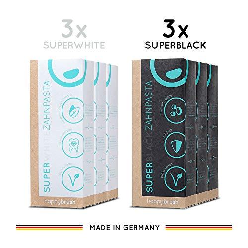 happybrush Zahncremes für natürliche Zahnaufhellung | Whitening Kit Ohne Plastik & Vegan | Mix Set mit Aktivkohle & Minze | SuperBlack & SuperWhite Bleaching Zahnpasta für Weisse Zähne (6 Stück 75ml)