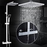 Auralum Thermostat Duschsystem Höhenverstellbar Duschset Brausethermostat mit mit Handbrause und Regendusche Duscharmatur für Dusche