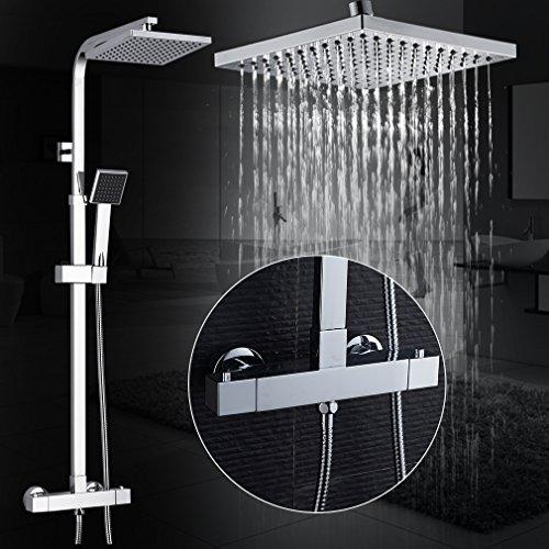 Auralum – Thermostat-Duscharmatur, Duschsystem mit Brausethermostat und Regendusche, Chrom - 9