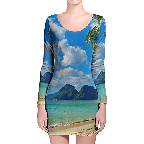 Kleider Island Fun (Paradise Island Longsleeve Bodycon Dress - XS Kleid XS-3XL)