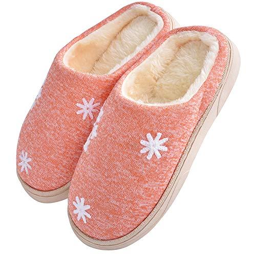 JACKSHIBO Damen Herren Plüsch Baumwolle Pantoffeln Weiche Leicht Wärme Hausschuhe Rutschfeste Slippers Für Unisex, Orange, EU 38/39=CN 40/41