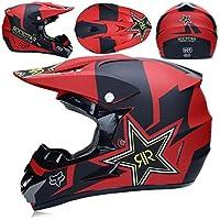 WLBRIGHT Adulto Motocross Casco Gafas De Regalo Máscara Guantes Fox Moto Racing Casco Completo Cara para