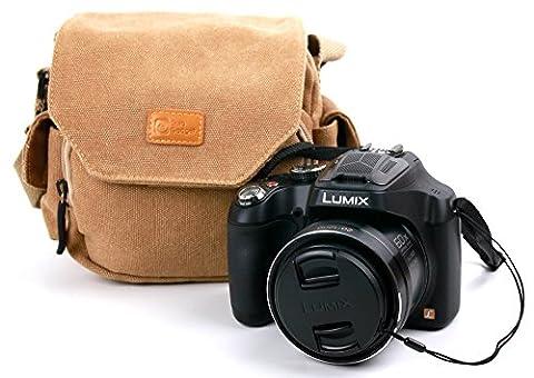 Housse avec bandoulière en toile couleur sable pour appareil photo Panasonic Lumix DMC-FZ72 et DMC-LZ30E -