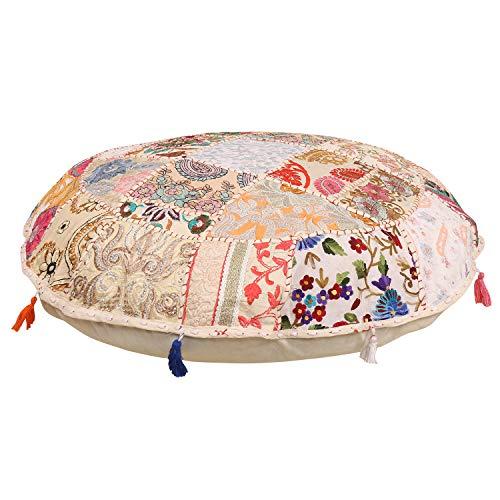 Janki Creation Sitzkissen, rund, Bohemian-Stil, Vintage, Pouf/Hocker, 100{fc02f671cf954f976fe1bb52c8001eff52b9c19008018d3dea081a0ae6aaa147} Baumwolle, Kissenhülle, Schutzhülle, für Nicht im Lieferumfang enthalten, Bestickt, Vintage-/Pouf, indischer Stil