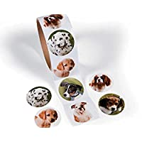 Roll of 100 Cute Dogs Stickers for Kids Crafts | Childrens Craft Stickers