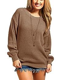 Amberclothing Pull-over oversized épais et long en tricot pour femme Tailles disponibles du S au XL