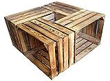 4 Stück geflammte gebrauchte Holzkisten - Weinkisten - für Möbelbau - Shabby