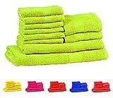 #8: Trident Neon Bright Green 10 Pcs Towel Set