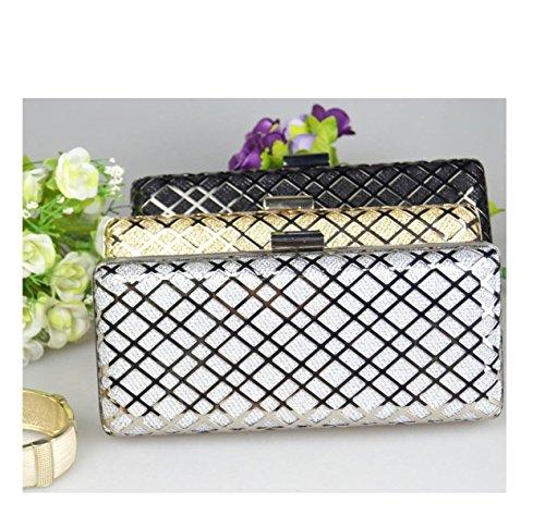 GSHGA Womens Clutch Taschen Hardware Shell Hand Tasche Süße Damen Handtasche,Gold Silver