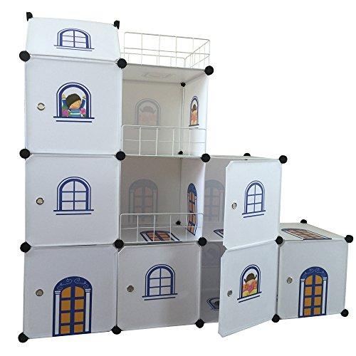 Kinder-Schloß Kinder kleiderschrank Spielzeug Kästen Bücherregal Organisator Weißes Schloss Flur Schrank Badschrank Hoch Regal Garderoben mit 2 Kleiderstange
