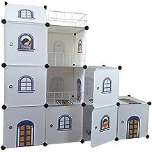 Niños castillo armario Estantería infantil Niños dormitorio armario ordenado cajas de juguete unidades DIY almacenamiento cubículo armario organizador - Castillo Blanco