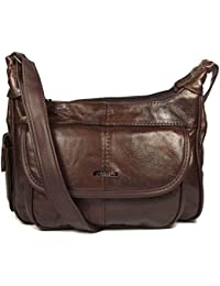 Dark Brown Genuine Real Leather Ladies Medium Handbag Long Strap, Cross the Body, Messenger Bag.