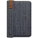 Covert Hülle für Apple iPad Mini, aus grauem Stafford-Tweed mit Fischgrätenmuster und Leder