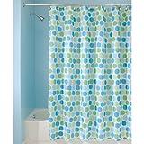 InterDesign Rialto Duschvorhang aus Stoff | 180 cm x 200 cm Duschabtrennung für Badewanne und Duschwanne | Textil Duschvorhang mit Punkten | Polyester blau