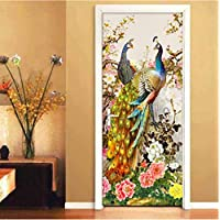 SZYUY Mural Flowers Birds Peacock 3D Photo Door Pvc Room Vinyl Sticker Proof D