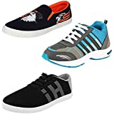 Chevit Men's Combo Pack Of 3 Loafers, Sneakers & Running Shoes (Casual Shoes)