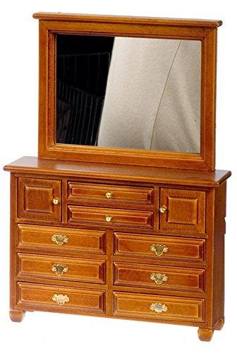 Casa delle bambole 1: 12TH scala grande noce cassettiera con specchio