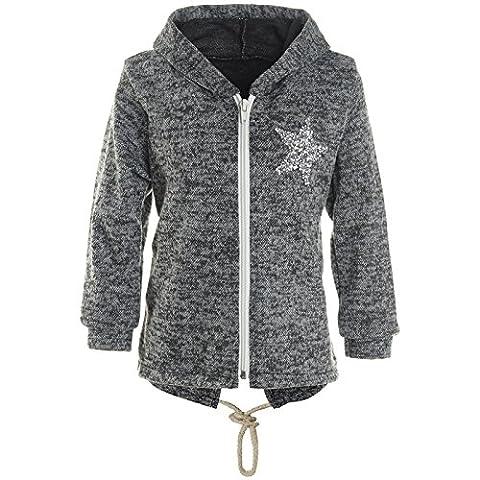 BEZLIT Mädchen Kapuzen Pullover Hoodie Jacke mit Glitzer Sweatshirt 21485, Farbe:Anthrazit,