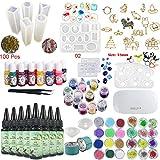 8 piezas 30 ml de resina epoxi de cristal adhesivo UV, 1 pinza de lámpara 36 decoración 11 piezas de silicona 100 anillos 13 pigmento líquido de color 17 joyería de metal con 2X 5 metros de cinta