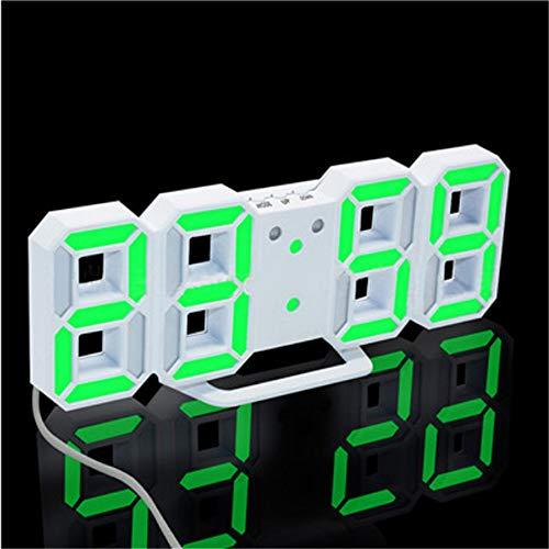 guyuell Reloj De Pared Led 3D Relojes De Alarma Digitales Modernos Pantalla Hogar Cocina Escritorio De Oficina Reloj De Pared De La Noche 24 O 12 Horas Pantalla, F
