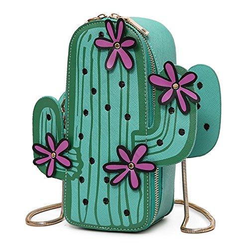 Aiffer Frau  3D Kaktus  Bestickte Schulter bag Niedlich  Tasche PU  Leder Kette Handtasche . (Leder Bestickt Handtasche)
