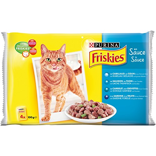 Friskies Poissons & Légumes en Sauce - 4 x 100 g - Sachets Fraîcheur pour Chat Adulte - Lot de 10