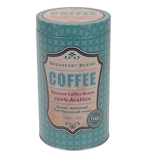 Kaffeedose aus Metall rund, 11 x 19 cm, Motiv Coffee, türkis