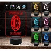 FORZA MILAN Regalo compleanno originale Lampada con 7 colori a LED da tavolo Squadra calcio Gadget ottima per compleanno inaugurazione da tavolo o scrivania Decorazione della casa Night Light