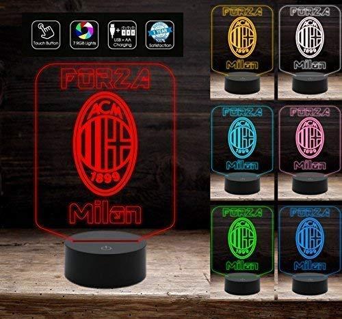 a40f49f76b FORZA MILAN Regalo compleanno originale Lampada con 7 colori a LED da  tavolo Squadra calcio Gadget