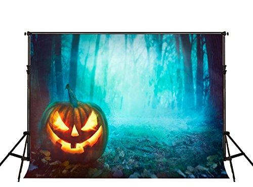 KateHome PHOTOSTUDIOS 2,2x1,5m Halloween Hintergrund Allerheiligen Kürbis Laterne Fotohintergrund Woods Microfiber Hintergründe für Fotostudio/Party Deko