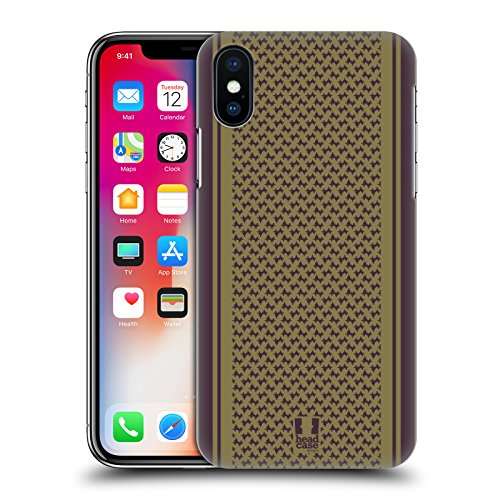 Head Case Designs Marrone Ispirato Alle Sciarpe Cover Retro Rigida per Apple iPhone X Oliva