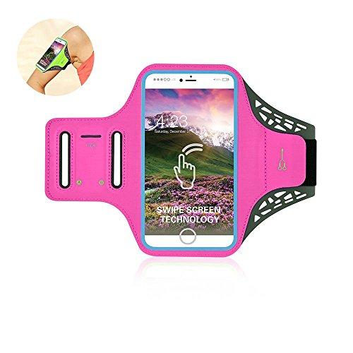Pawaca Sportarmband, Freien Running Handy Tasche mit Fingerabdruck Touch Wasserdichte Arm Band mit Schlüssel Halter für iPhone 6/7/6S/6Plus/7plus/8/x (schwarz), rosarot, 14 cm - Ipod Wasserdichte Armband Nano