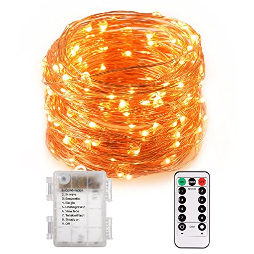 LED Copper String Lights mit Fernbedienung, 10m LED Fairy String Lights Indoor und Outdoor für Weihnachten / Hochzeit / Party IP65 (warmweiß) (Diy Halloween Herzstück)