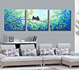 #3: 3 painting sets of the beautiful five birds oil painting Canvas oil print with wooden mounting | size 31x91x5 cms Canvas Painting