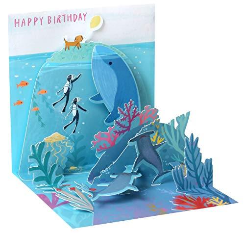 Up 3D Karte Geburtstag Grußkarte Delphin schwimmt im Meer 13x13cm ()