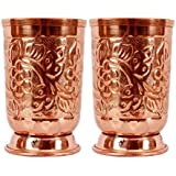 STREET CRAFT ® Handmade Pure Copper Glass Cup For Water Copper Tumbler Copper Water Glass Copper Water Tumbler Copper Cup For Health Benefits Set Of 2 Pcs Hand Embossed With Leif Deign