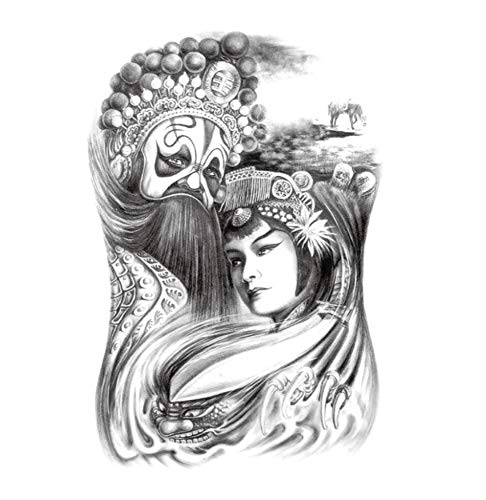 ruofengcp Körper-Kunst-großer Tätowierungs-Aufkleber-Halloween-Vampir-Vampir-Eulen-Schädel-japanische Geisha-Tätowierung-Aufkleber Geisha Halloween-make-up